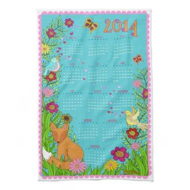 2014 Calendar Tea Towel - Fox in the Garden