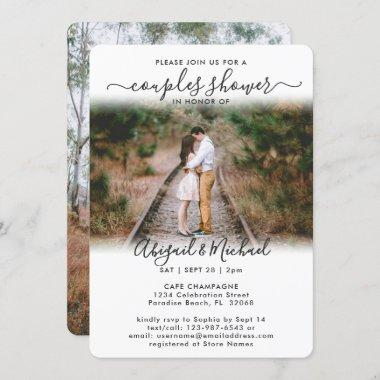 2 Photo Couples Bridal Shower Chic Modern Script Invitations