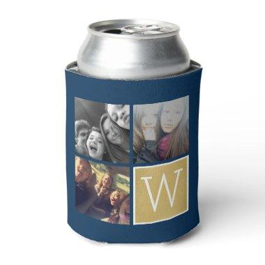 3 Photos - Instagram Photo Collage Custom Monogram Can Cooler