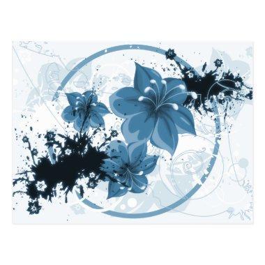 3 Pretty Flowers - Blue PostInvitations