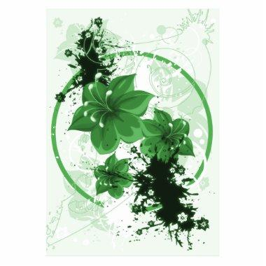 3 Pretty Flowers - Green Cutout
