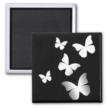 5 White Butterflies Magnet
