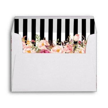 Vintage Floral Black White Stripes Wedding Envelope