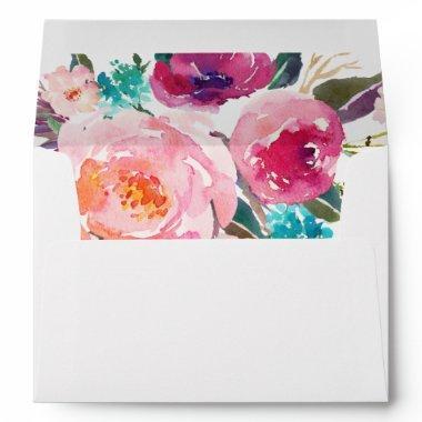 Watercolor Purple Pink Floral Liner Decor Envelope