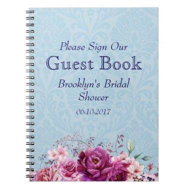 A-1 Pink, Burgundy Floral  Guest Book