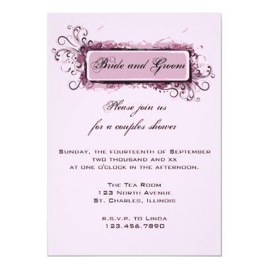 Abstract Pink Floral Couples Wedding Shower Invite
