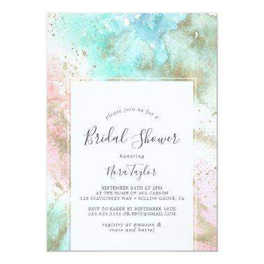 Abstract Summer Watercolor Bridal Shower Invitations