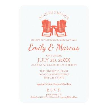 Adirondack Chairs Coral Couple's Shower Invitations