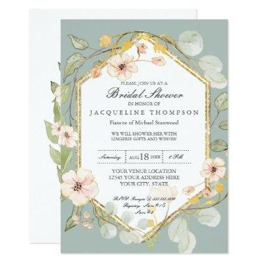 Adult Bridal Shower Silver Sage Rose Watercolor Invitations