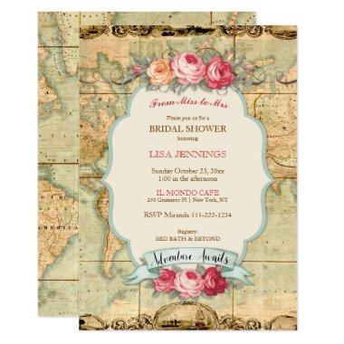 Adventure Awaits Vintage World Map Roses