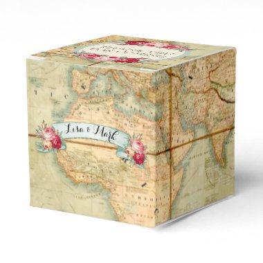 Adventure Awaits Vintage World Map Roses Favor Box