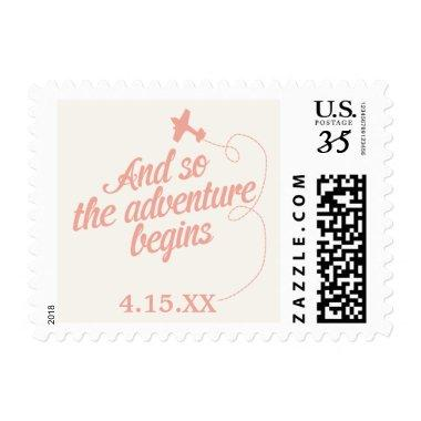 Adventure Begins | Destination Wedding - Pink Postage