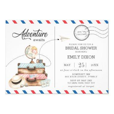 Adventure Bridal Shower Travel Voyage Postage Mail Invitations