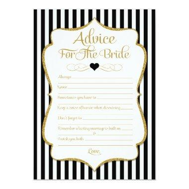 Advice For The Bride Black Gold Bridal Shower Game Invitations