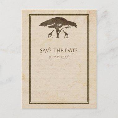 African Safari Giraffes & Tree Save The Date Announcement PostInvitations