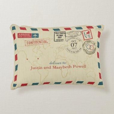 Airmail Wedding Travel Theme Decorative Pillow