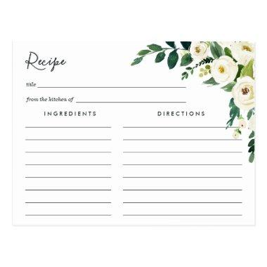 Alabaster Floral Recipe Invitations