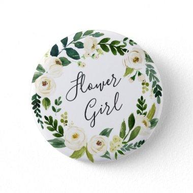 Alabaster Floral Wreath Flower Girl Pinback Button