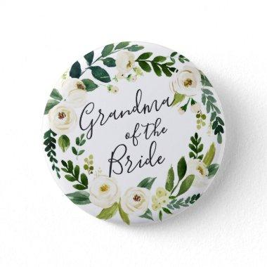 Alabaster Floral Wreath Grandma of the Bride Button