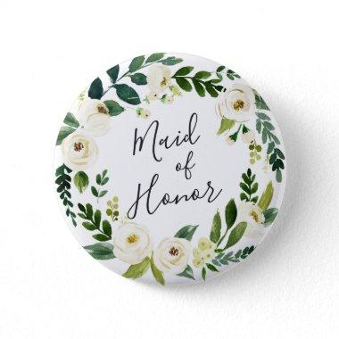 Alabaster Floral Wreath Maid of Honor Pinback Button