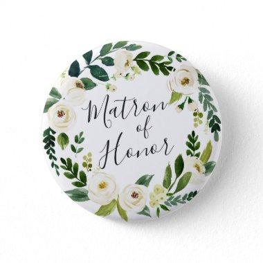 Alabaster Floral Wreath Matron of Honor Pinback Button
