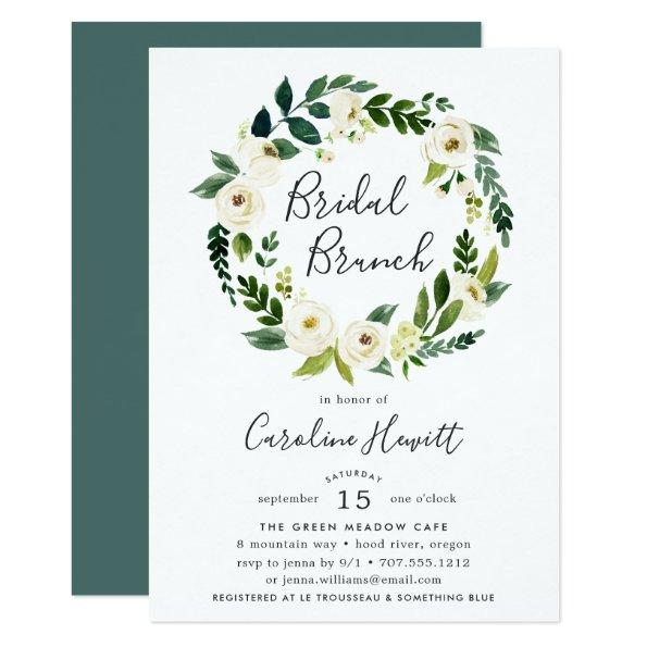 Alabaster Wreath Bridal Brunch Invitations