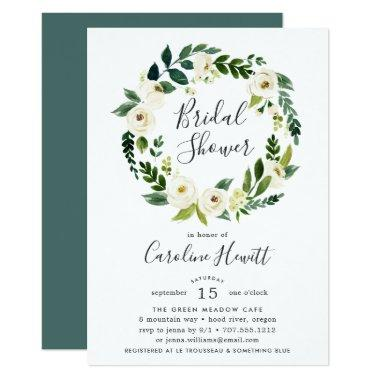 Alabaster Wreath Bridal Shower Invitations