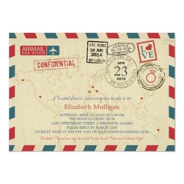 Alaska World Traveler Airmail | Bridal Shower Invitations