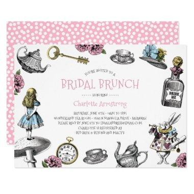 Alice in Wonderland Pink Bridal Brunch Invitations