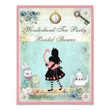 Alice & Pink Flamingo Bridal Shower Invitations