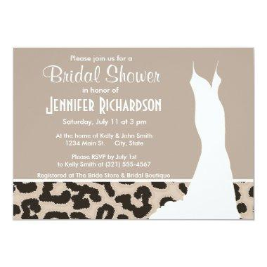 Almond Color Leopard Animal Print; Personalized Invitations
