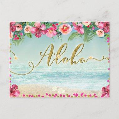 ALOHA Gold Tropical Beach Hibiscus Save the Date Announcement PostInvitations