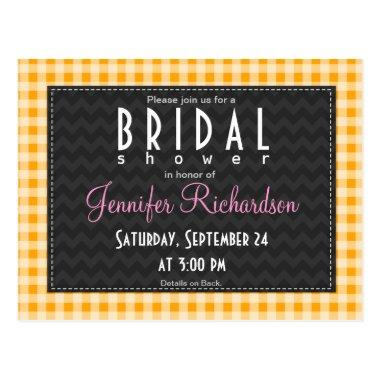 Amber Orange Gingham  invitation Post