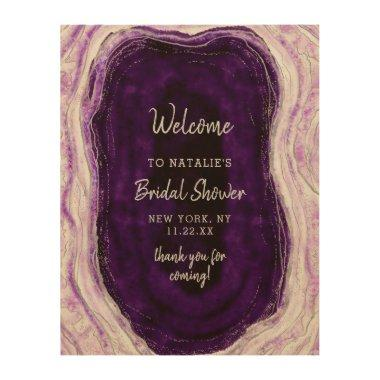 Amethyst Purple Geode Bridal Shower Welcome Sign