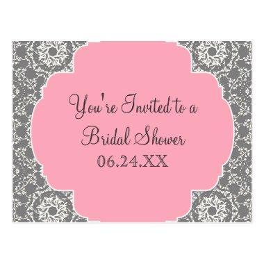 AnnaLiese Damask - Pink and Grey Bridal Shower PostInvitations