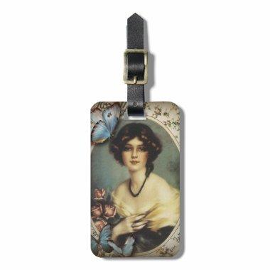 Antique Floral Butterfly Old fashion Paris Lady Luggage Tag