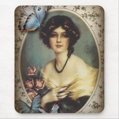 Antique Floral Butterfly Old fashion Paris Lady Mouse Pad