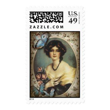 Antique Floral Butterfly Old fashion Paris Lady Postage