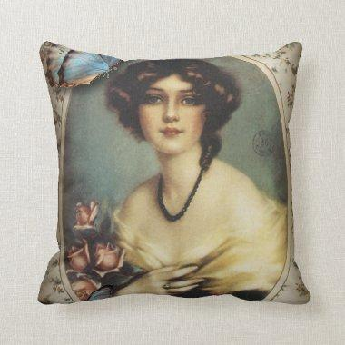 Antique Floral Butterfly Old fashion Paris Lady Throw Pillow