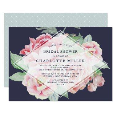 Antique Peony Bridal Shower Invitations