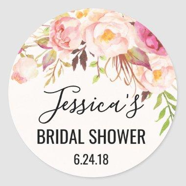 Antique Rose Bridal Shower Favor Stickers
