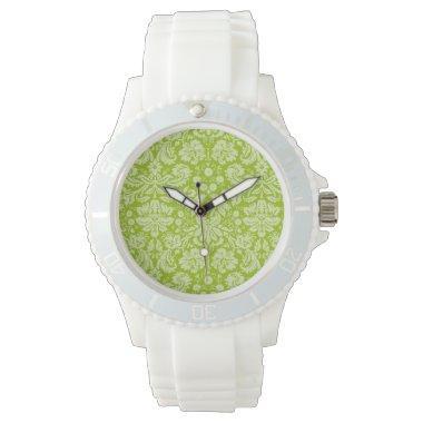 Apple Green Damask Pattern Watch