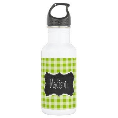 Apple Green Gingham; Retro Chalkboard Stainless Steel Water Bottle