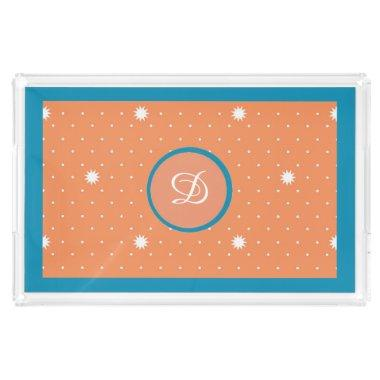 Aqua and Coral Monogrammed Acrylic Tray