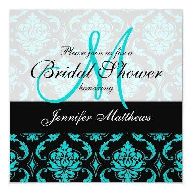 Aqua Blue Black Damask