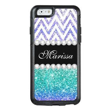 Aqua Blue Glitter Print Purple Ombre White Chevron OtterBox iPhone 6/6s Case