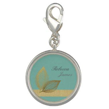 AQUA BLUE GOLD LEAF MOTIVE 2 CHARMS