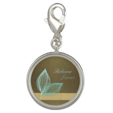 AQUA BLUE GOLD LEAF MOTIVE CHARM