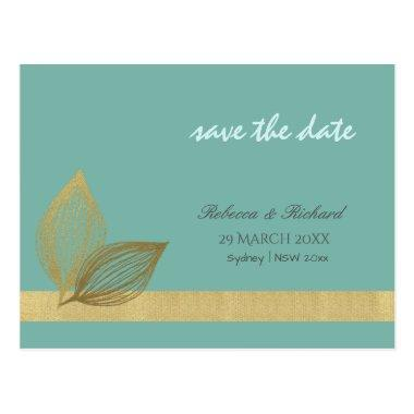 AQUA BLUE GOLD LEAF MOTIVE Save the date 2 PostInvitations