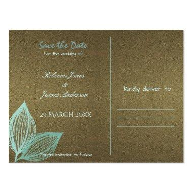 AQUA BLUE GOLD LEAF MOTIVE Save the date PostInvitations